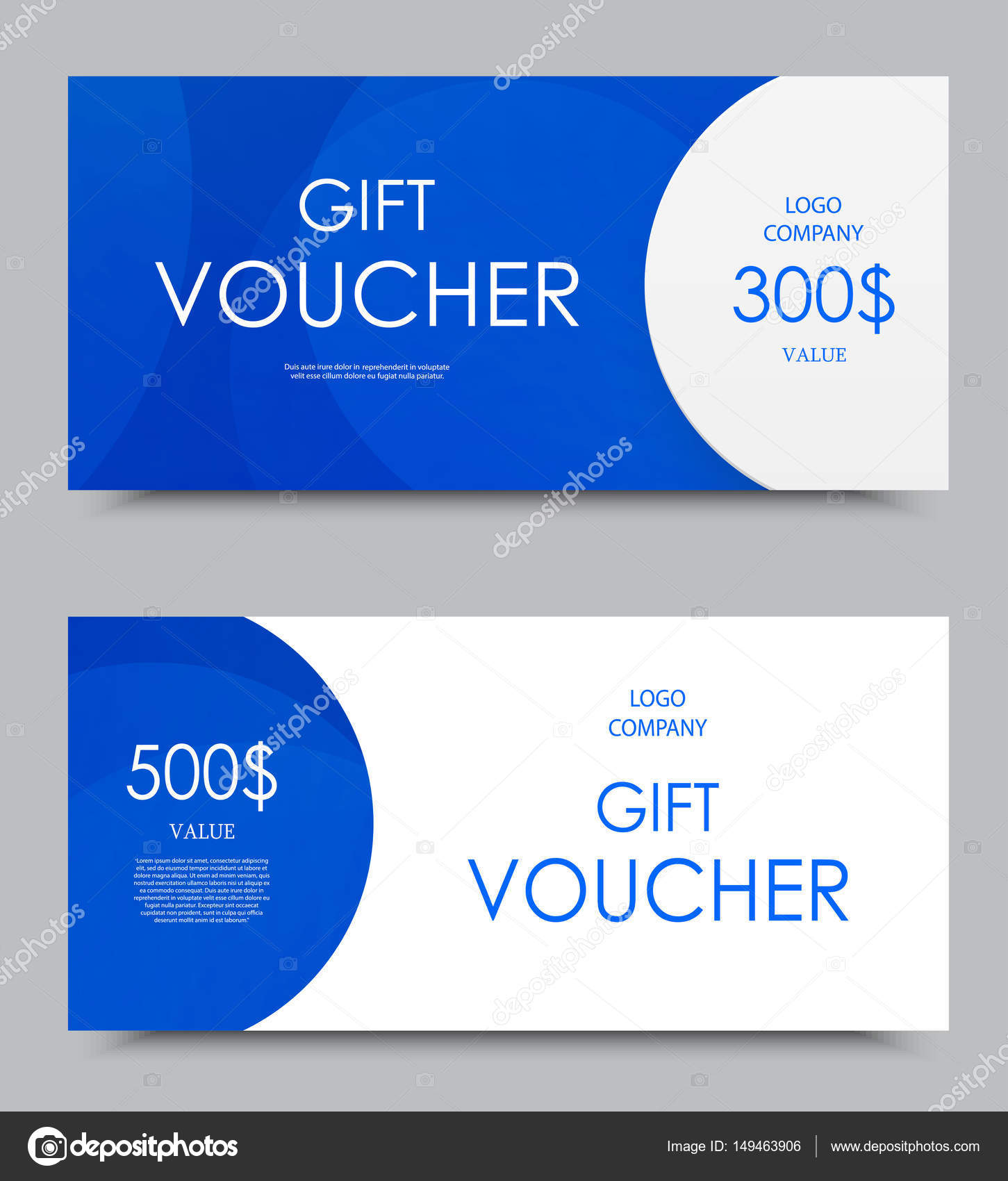 Gift Company Voucher Template Stock Vector Denchik 149463906 Three On Five And Hundred Dollars With Blue Wavy Light Pattern Illustration By
