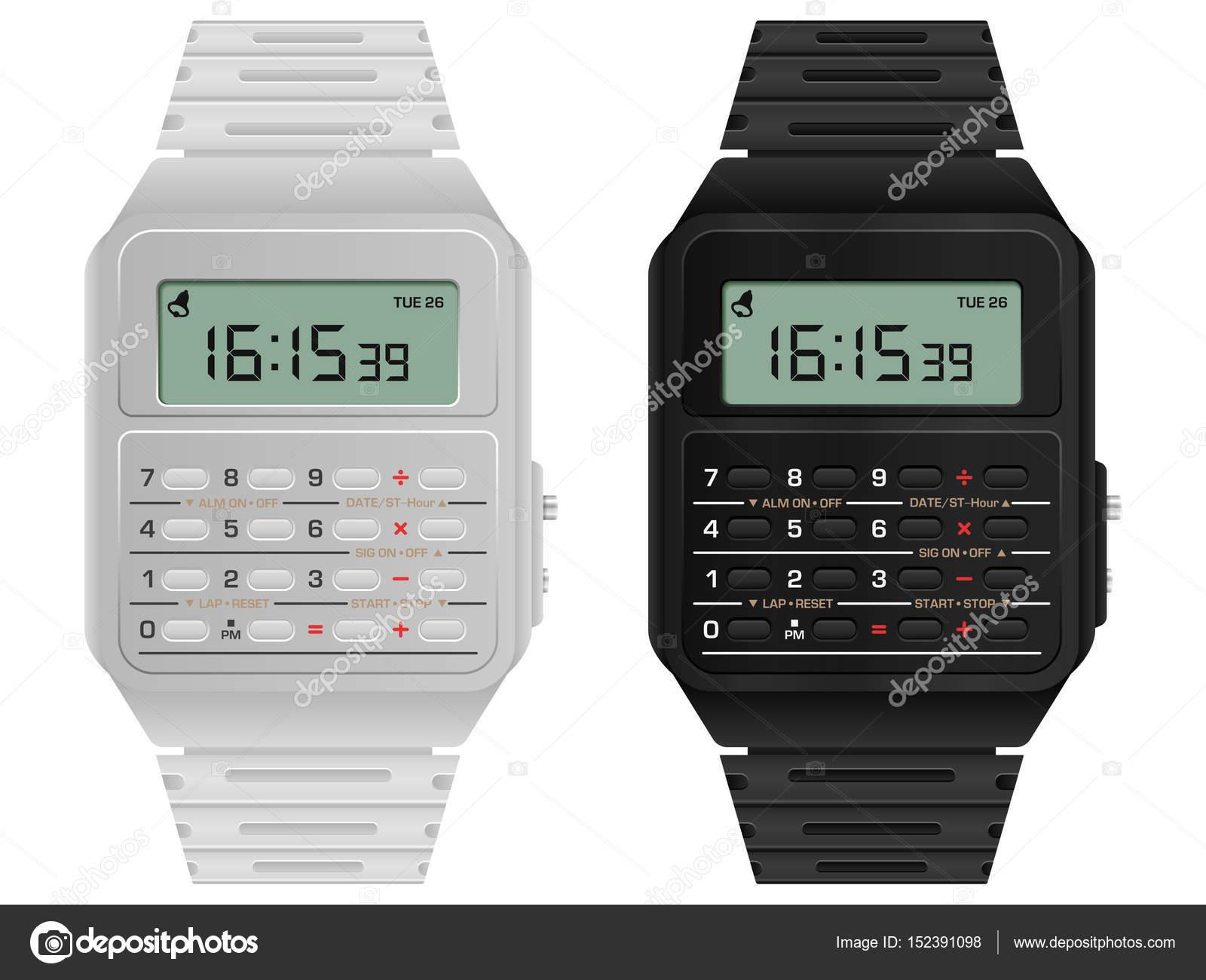 Калькулятор цифровий годинник — Стоковий вектор — білий © julydfg ... cb5a9ae7bb843