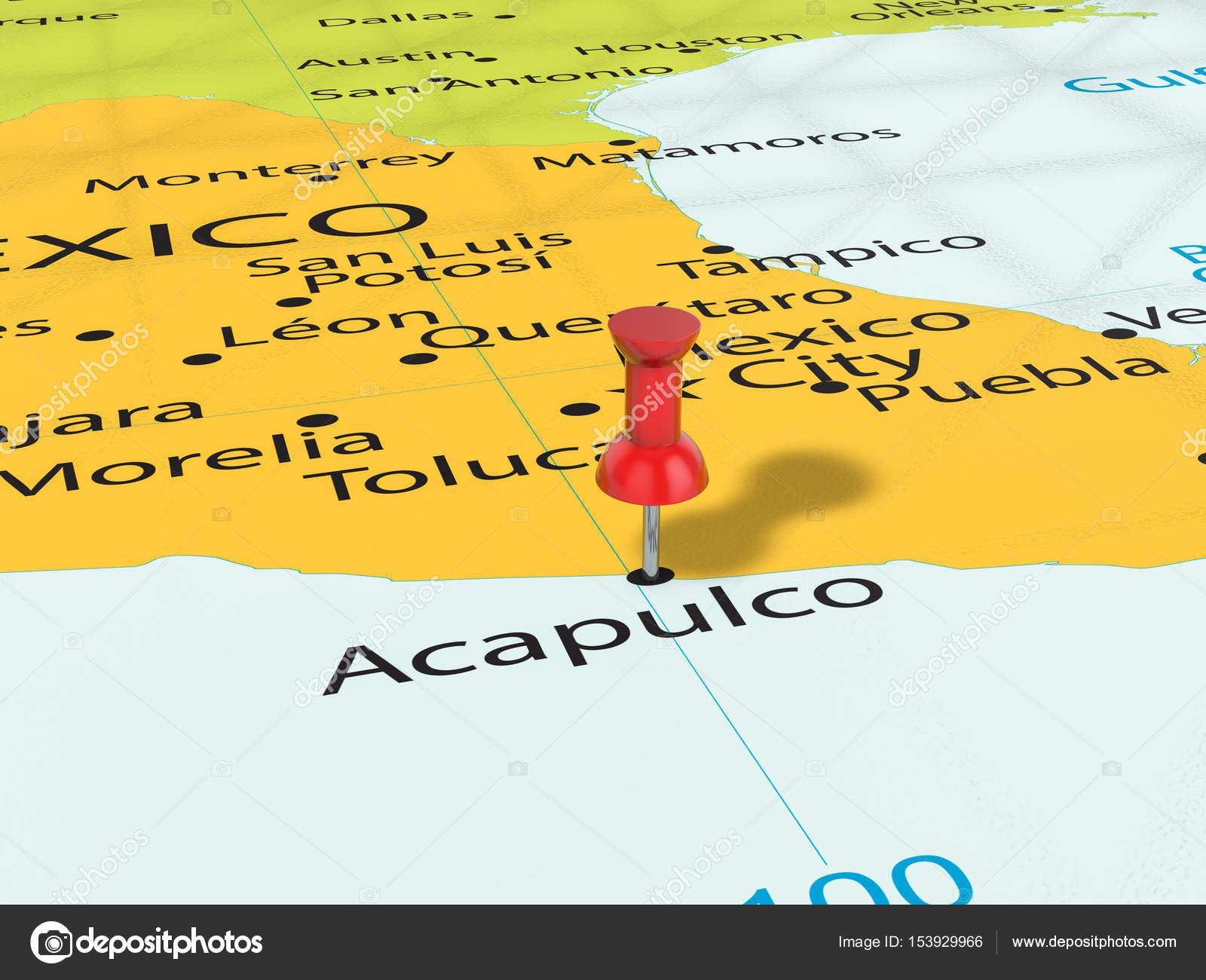 Pushpin on Acapulco map Stock Photo julydfg 153929966