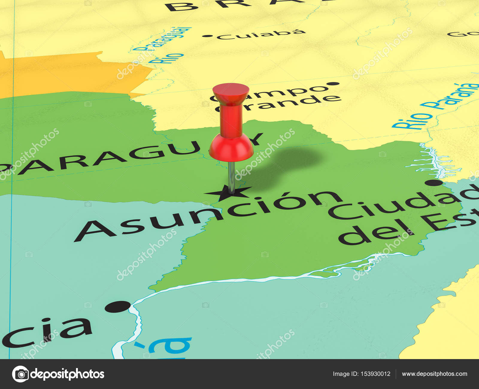 Pushpin on Asuncion map Stock Photo julydfg 153930012