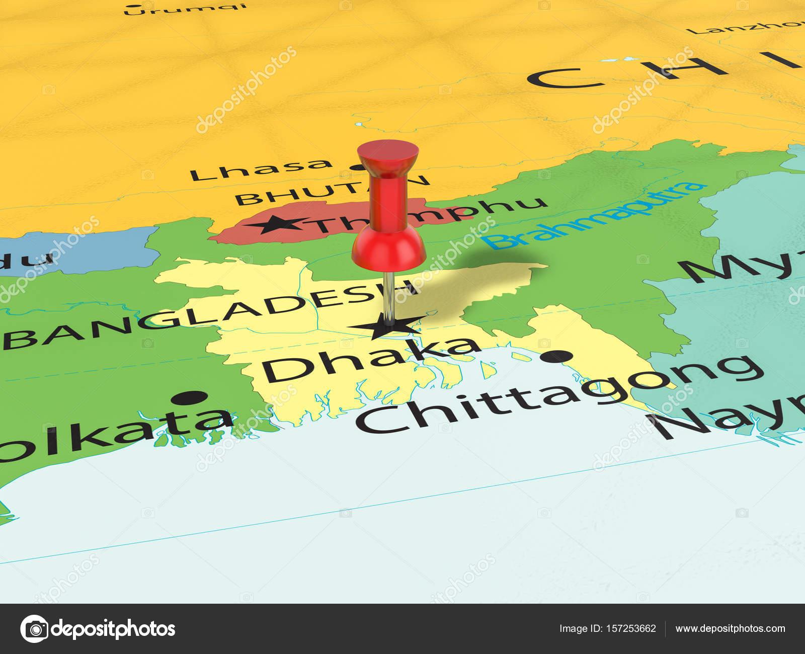 Pushpin on Dhaka map — Stock Photo © julydfg #157253662