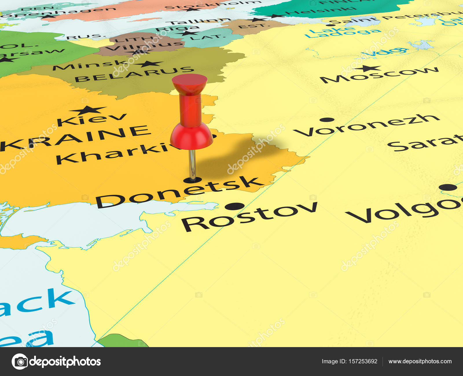 Pushpin on Donetsk map Stock Photo julydfg 157253692