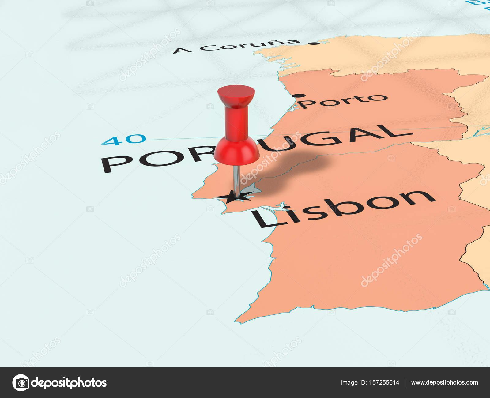mapa 3d lisboa Pino no mapa de Lisboa — Fotografias de Stock © julydfg #157255614 mapa 3d lisboa