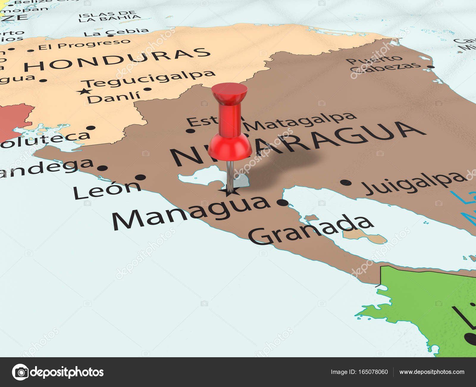 Pushpin on Managua map Stock Photo julydfg 165078060