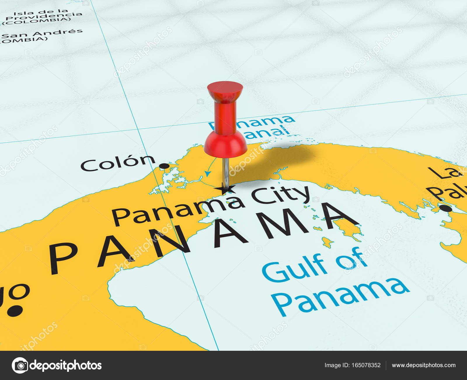 Pushpin on Panama City map — Stock Photo © julydfg #165078352