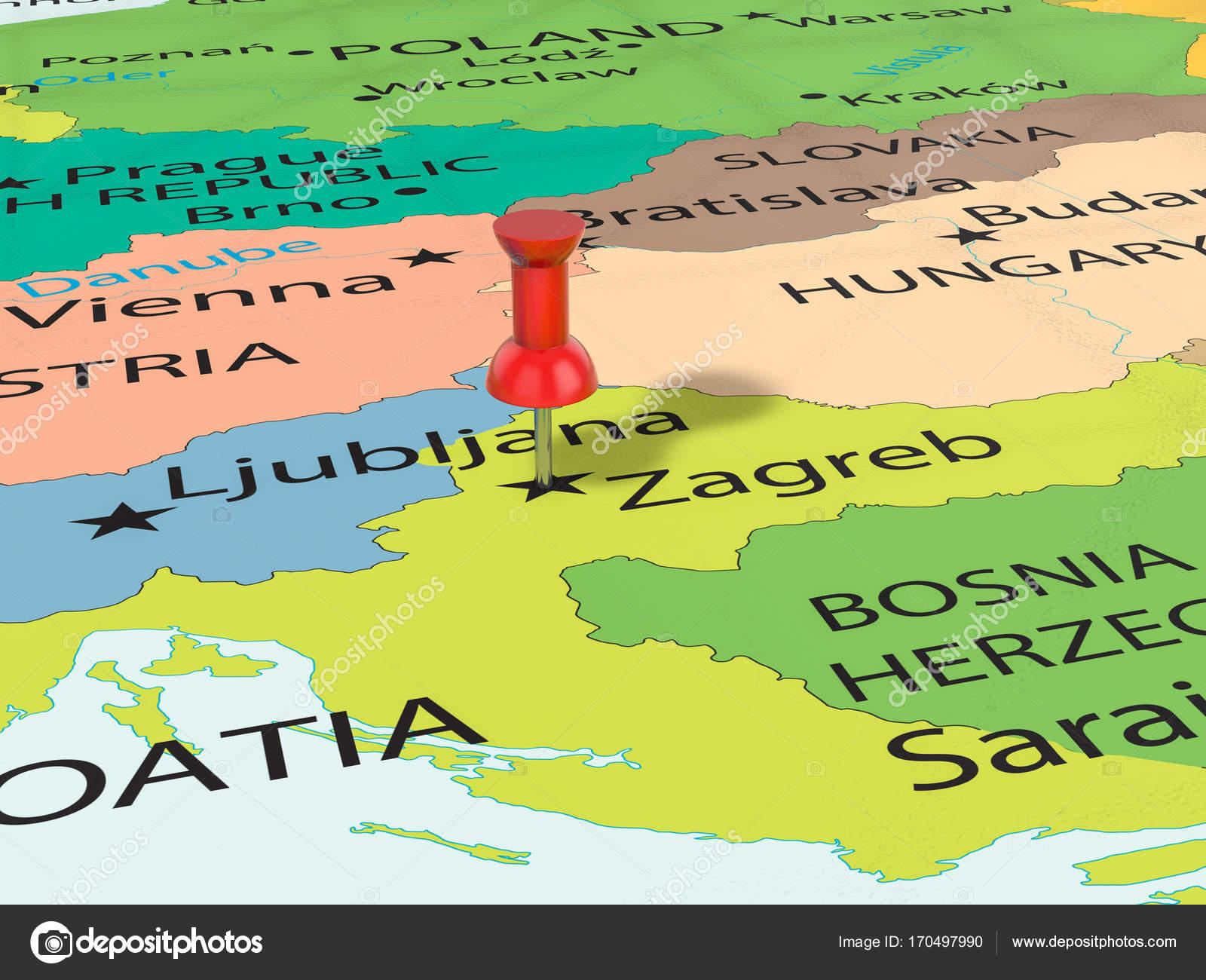 zágráb térkép Rajzszög Zágráb Térkép — Stock Fotó © julydfg #170497990 zágráb térkép