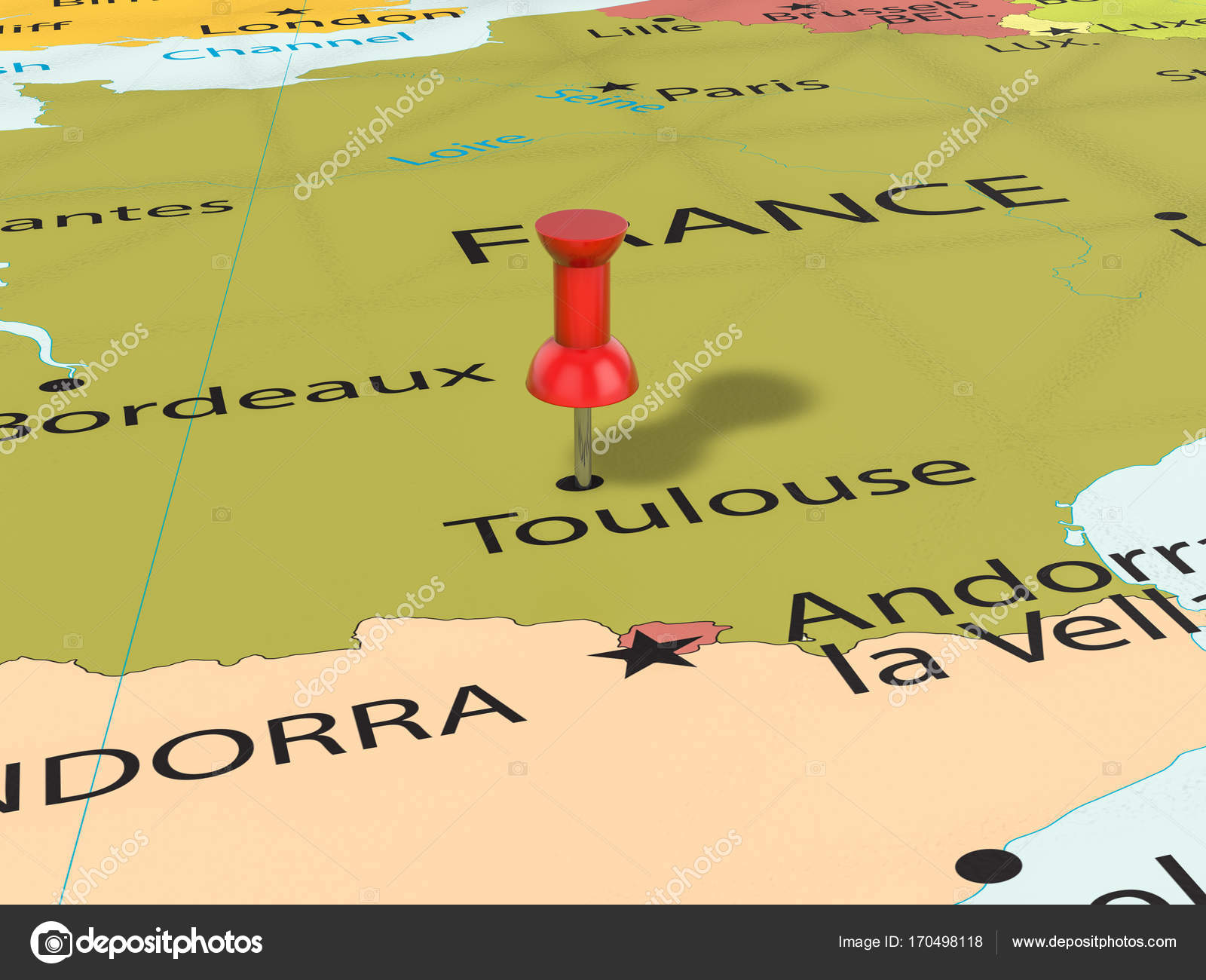 Pushpin On Toulouse Map Stock Photo C Julydfg 170498118