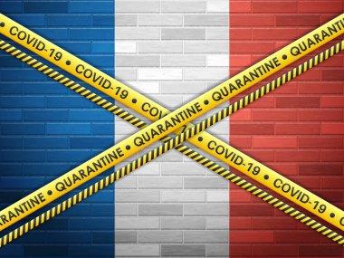 France in quarantine bricks wall background. Vector illustration.