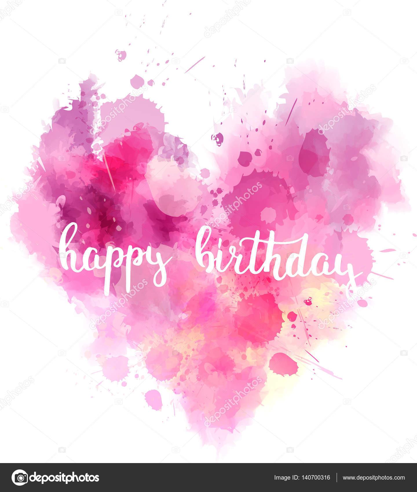 Alles Gute Zum Geburtstag Wasserfarben Herz Stockvektor C Artlana
