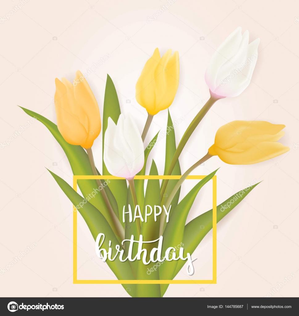 Happy birthday greeting card stock vector artlana 144785687 happy birthday greeting card with tulip flowers with handwritten modern calligraphy typography message vector illustration vector by artlana izmirmasajfo