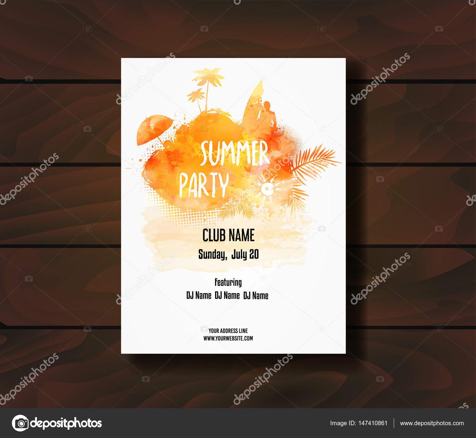 Plantilla cartel de fiesta de verano — Archivo Imágenes Vectoriales ...