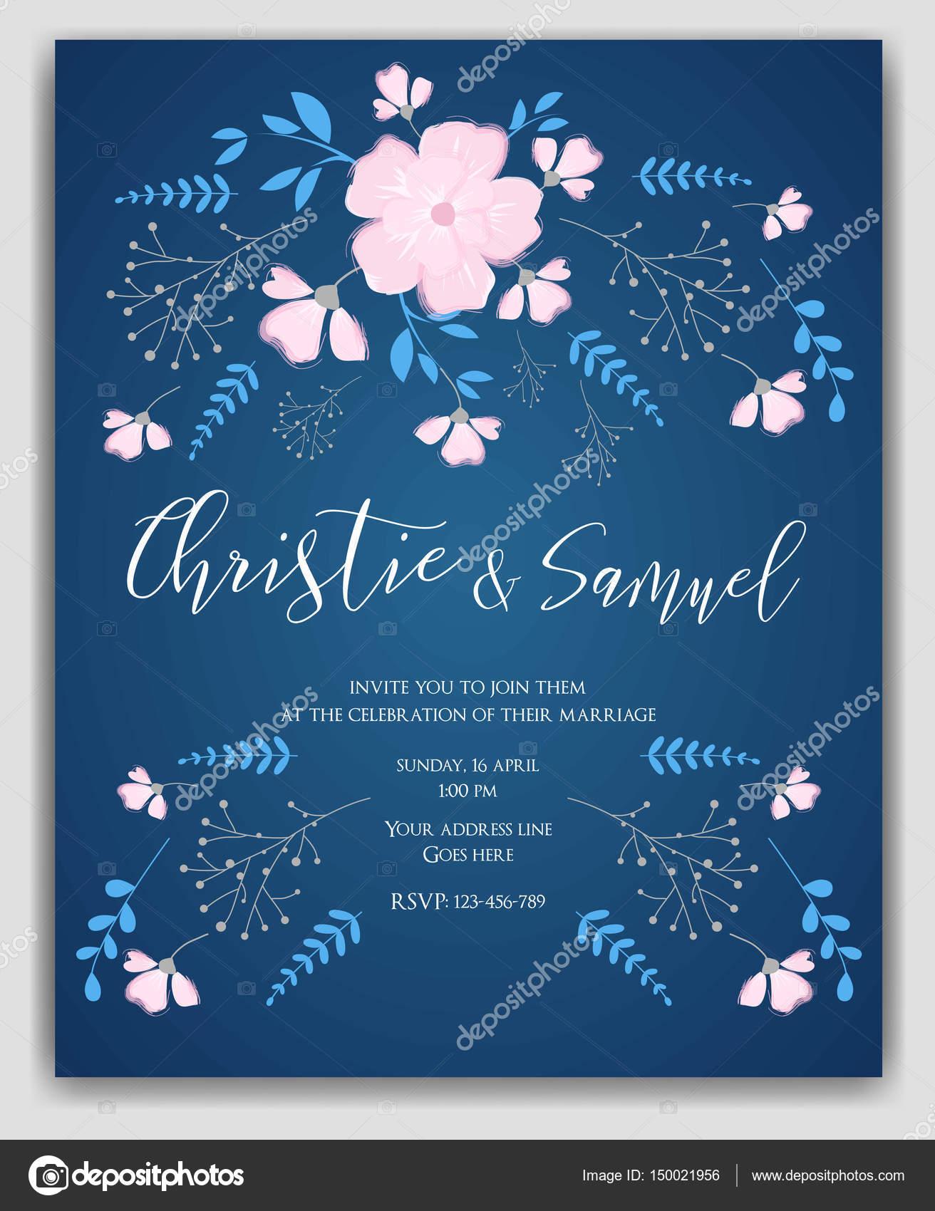 Hochzeit Einladung Vorlage Blumen Stockvektor C Artlana 150021956