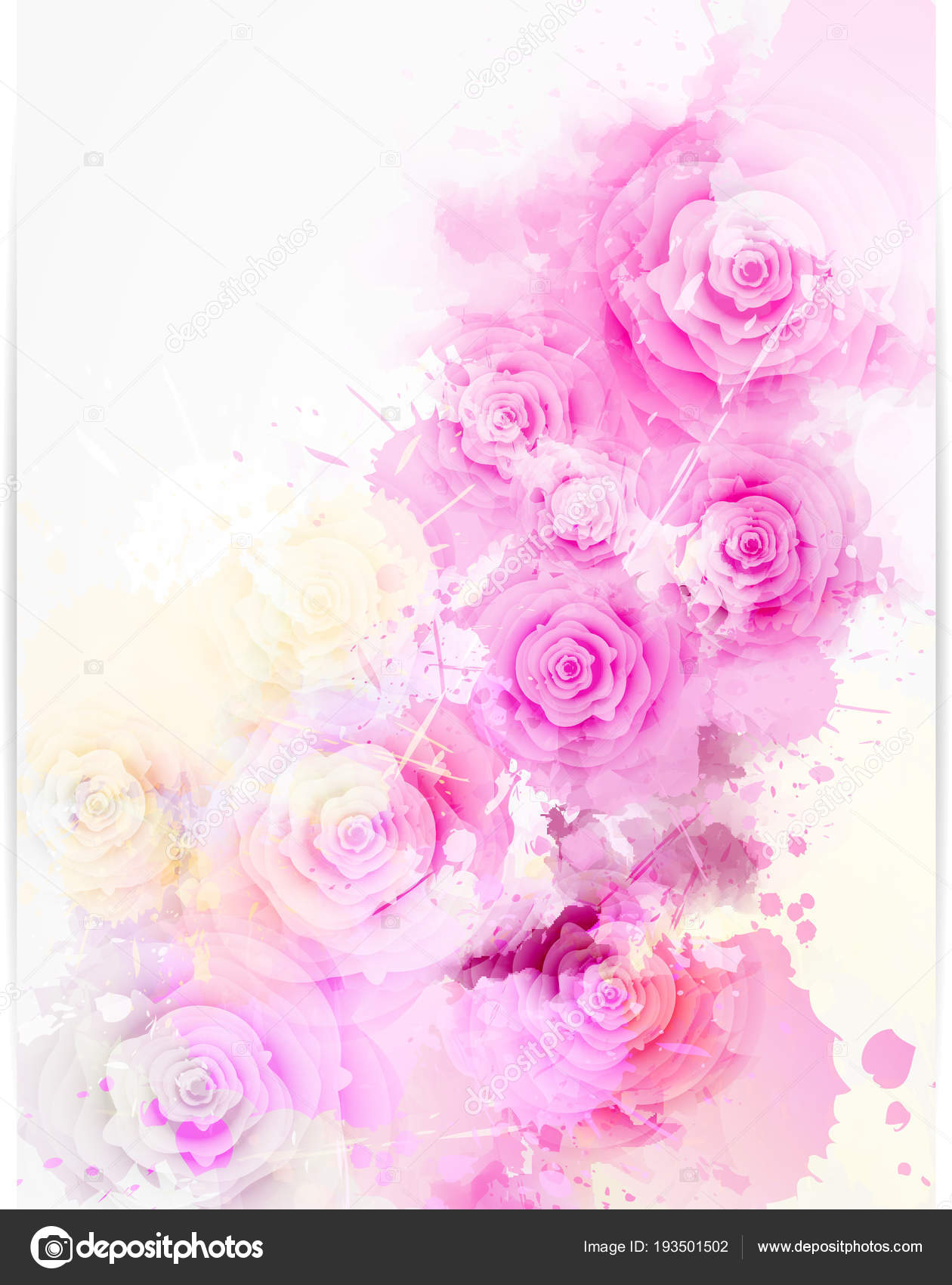 Floral Invitation Wedding Template With Abstract Roses Stock