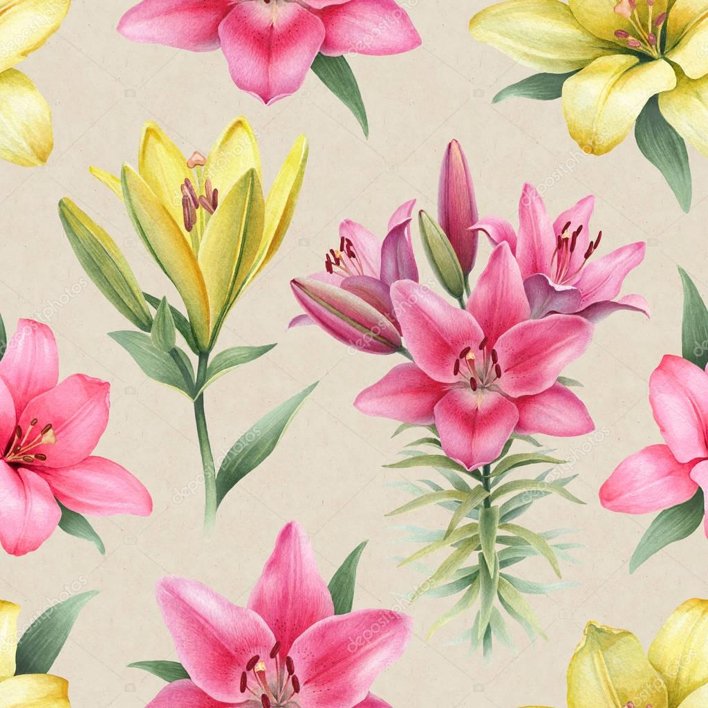 Watercolor Illustration Of Lily Flowers Stock Photo Sashsmir