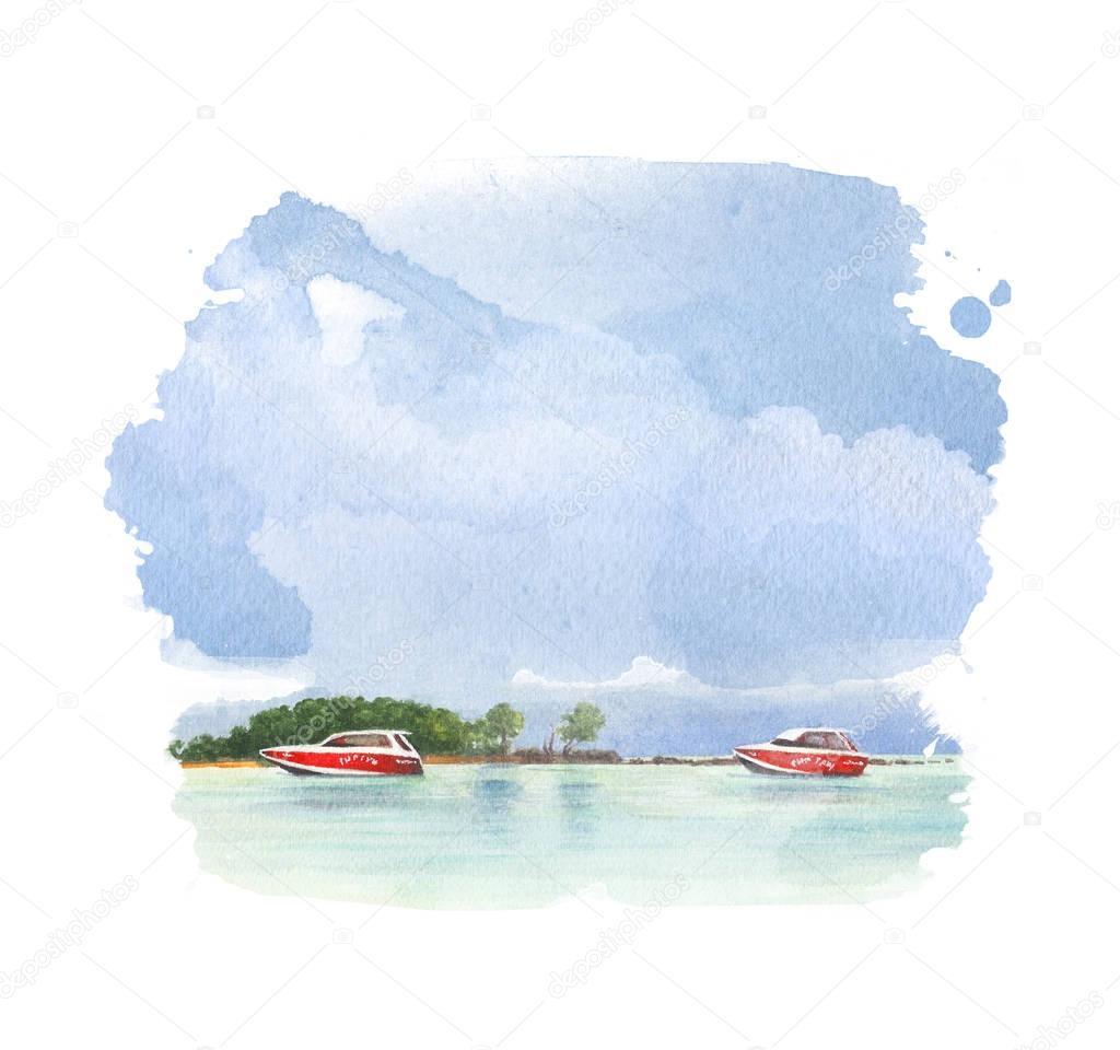 Watercolor tropical beach