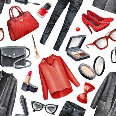 fashionable clothes and makeup collection