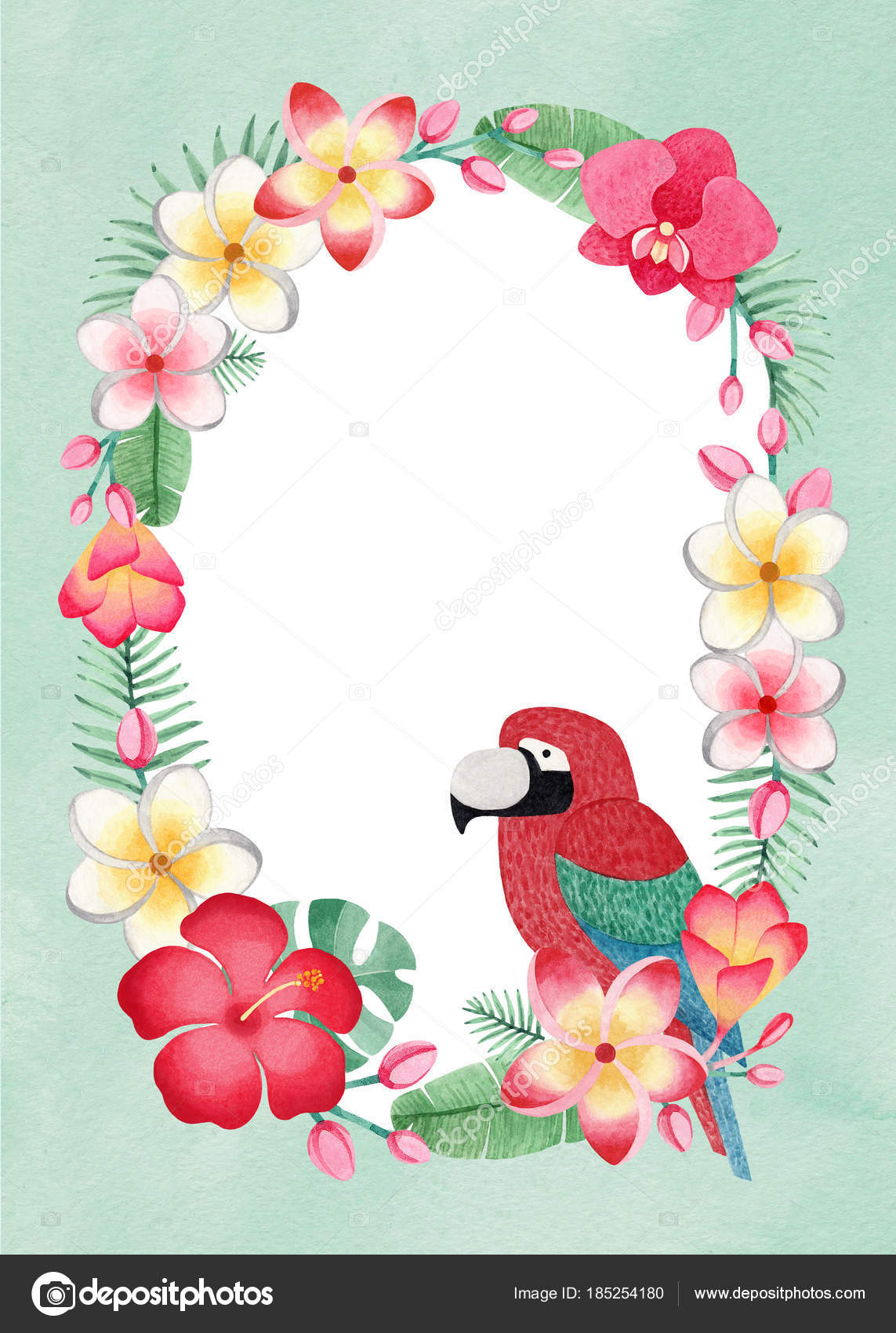 Watercolor tropical floral wreath parrot perfect greeting cards watercolor tropical floral wreath parrot perfect greeting cards invitations stock photo m4hsunfo
