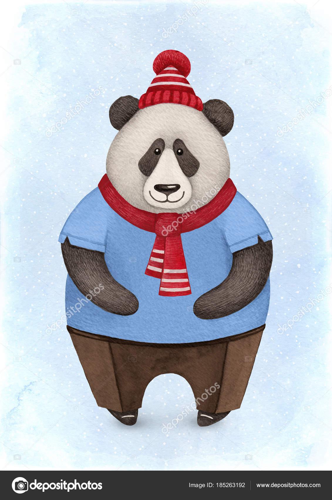 Watercolor Illustration Panda Bear Perfect Christmas Greeting Cards