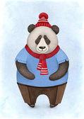 Fotografie Ein Aquarell Illustration der Panda-Bär. Ideal für Weihnachtskarten