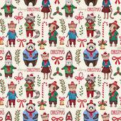 Akvarelu zvířata vánoční vzor