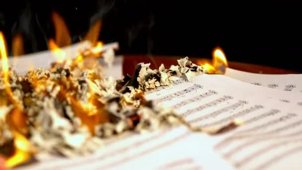 Sheet music are burning on background of girl playing violin. 4k.