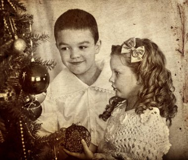 Retro Christmas portrait of children brother and sister