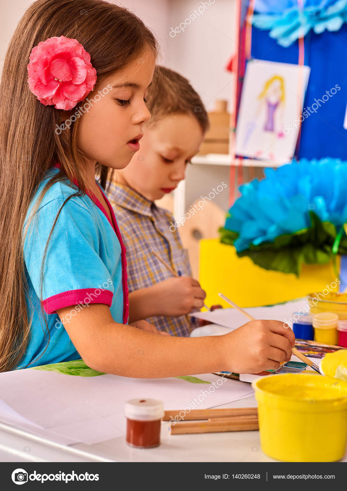 small students children painting in art class u2014 stock
