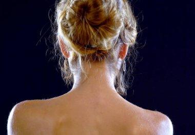 Naked back woman. Nude shoulders girl.