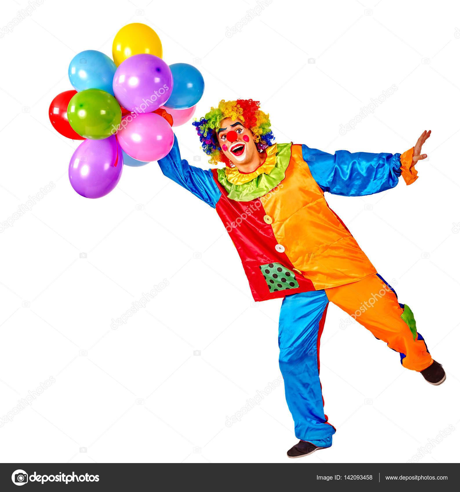 Verjaardag Kind Clown Met Ballonnen Bos Op Geisoleerde Stockfoto