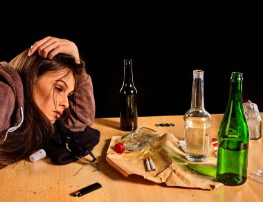 Woman alcoholism is social problem. Female drinking cause poor health.