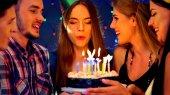 Happy přátelé oslava narozenin s svíčka slavnostní dorty