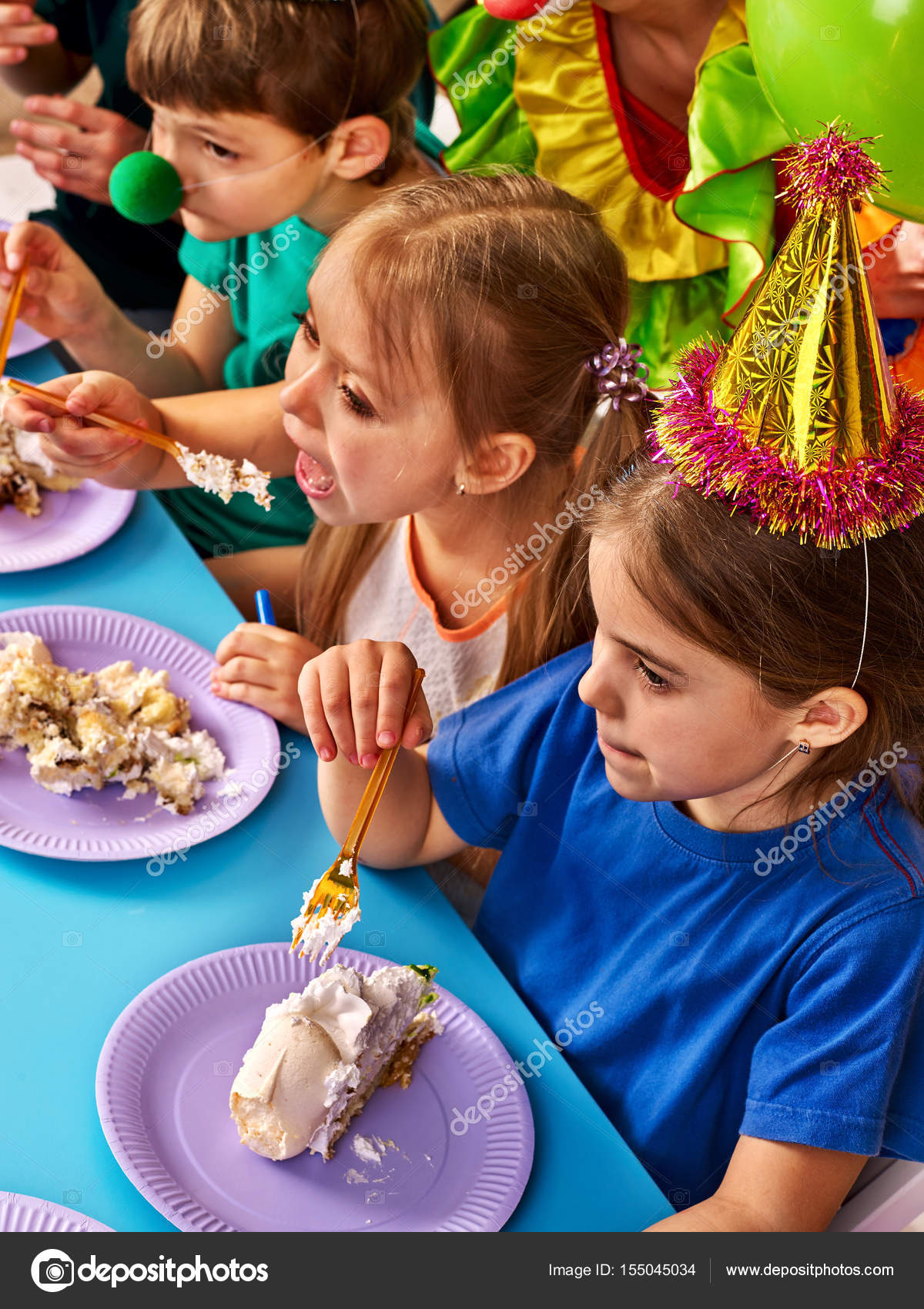 Stock Birthday Children Clown Eating Cake With Two Girl Together Kids Messy Face Have Tier Fight Fun Happy Childhood Of Small Group People
