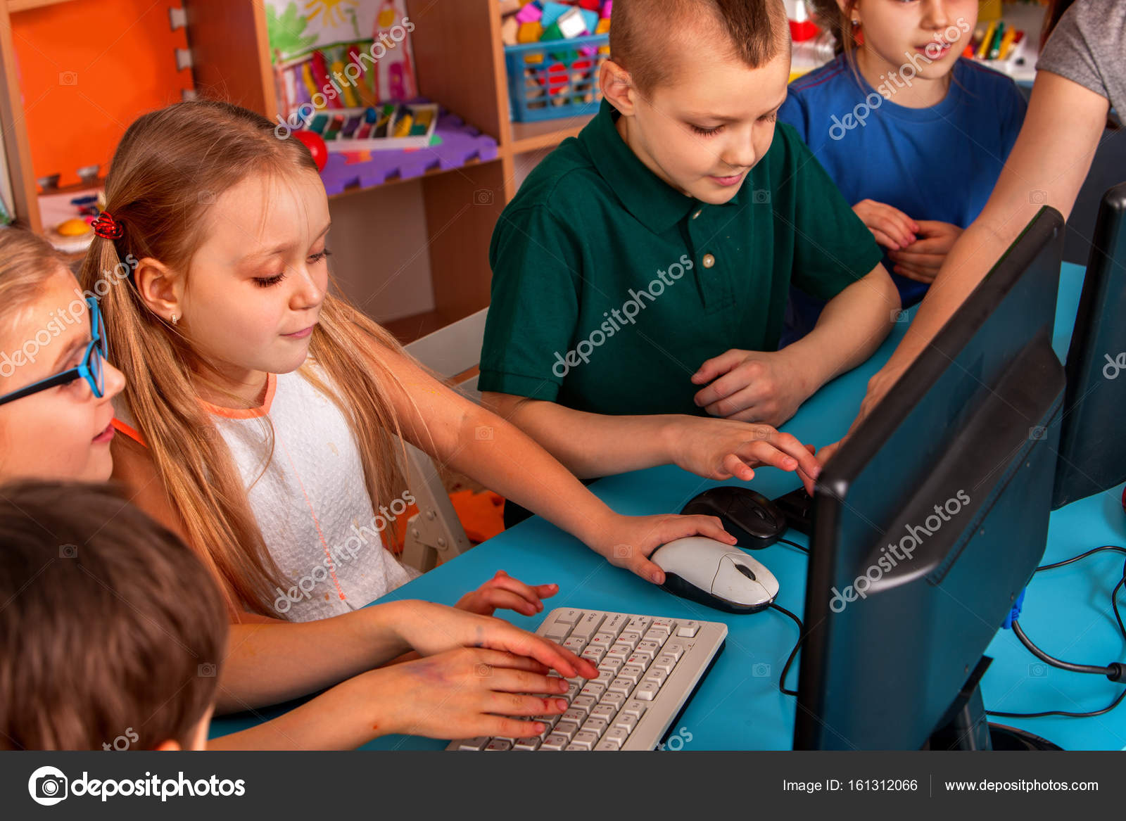 Children Computer Class Us For Education And Video Game Boys Girls In Childrens Club Who Spend Many Hours Behind Monitor Harmful To Health