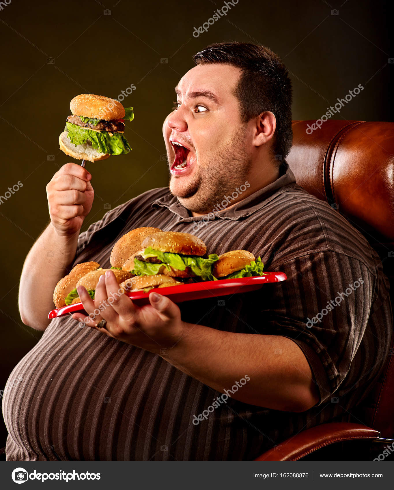 Fat Man Eating Fast Food Hamberger Breakfast For