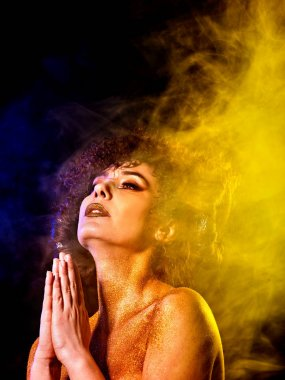Soul body woman studies esotericism and out-of-body travel.