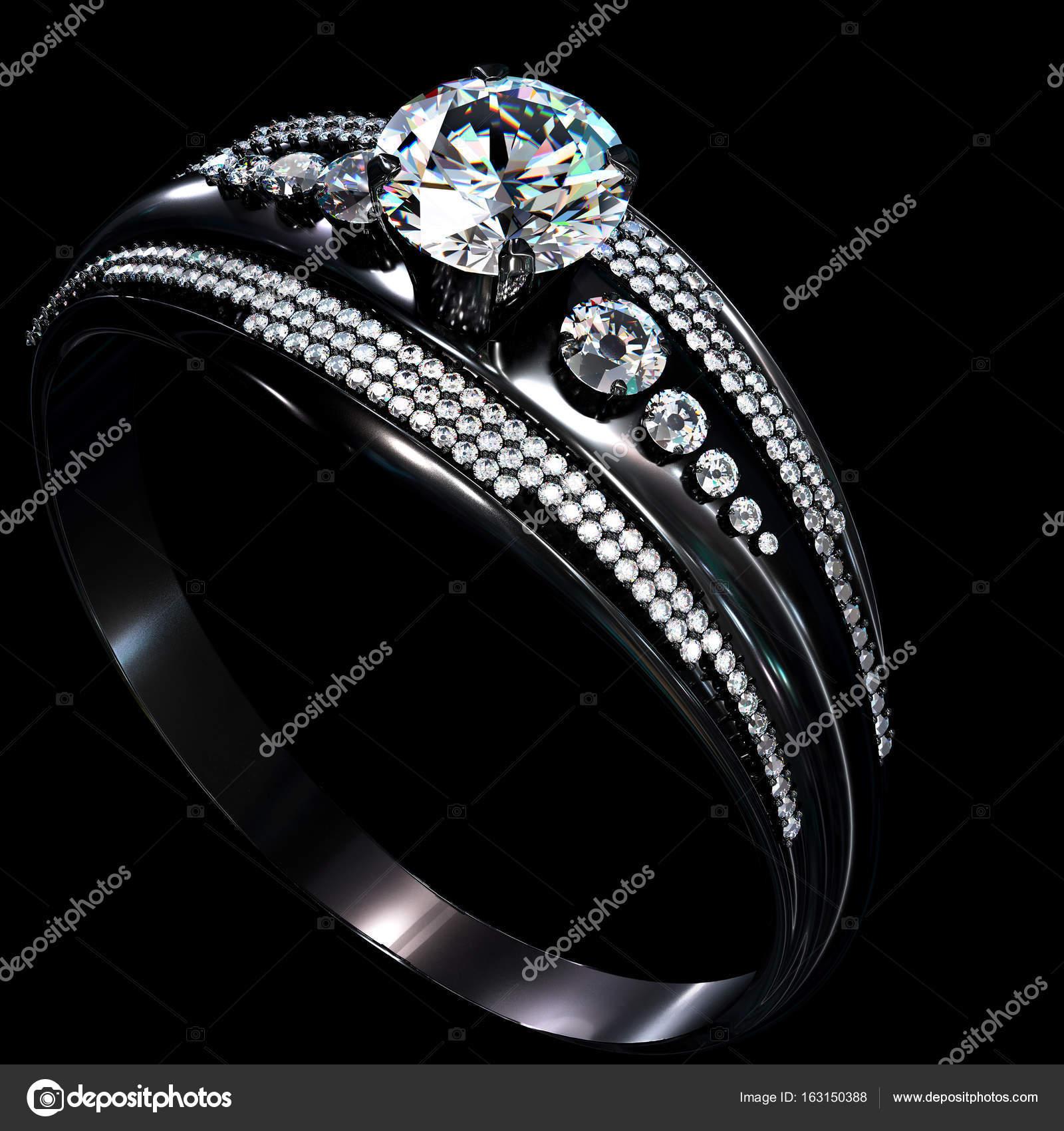 Anillo de compromiso oro negro capa con gema de diamante — Fotos de ...