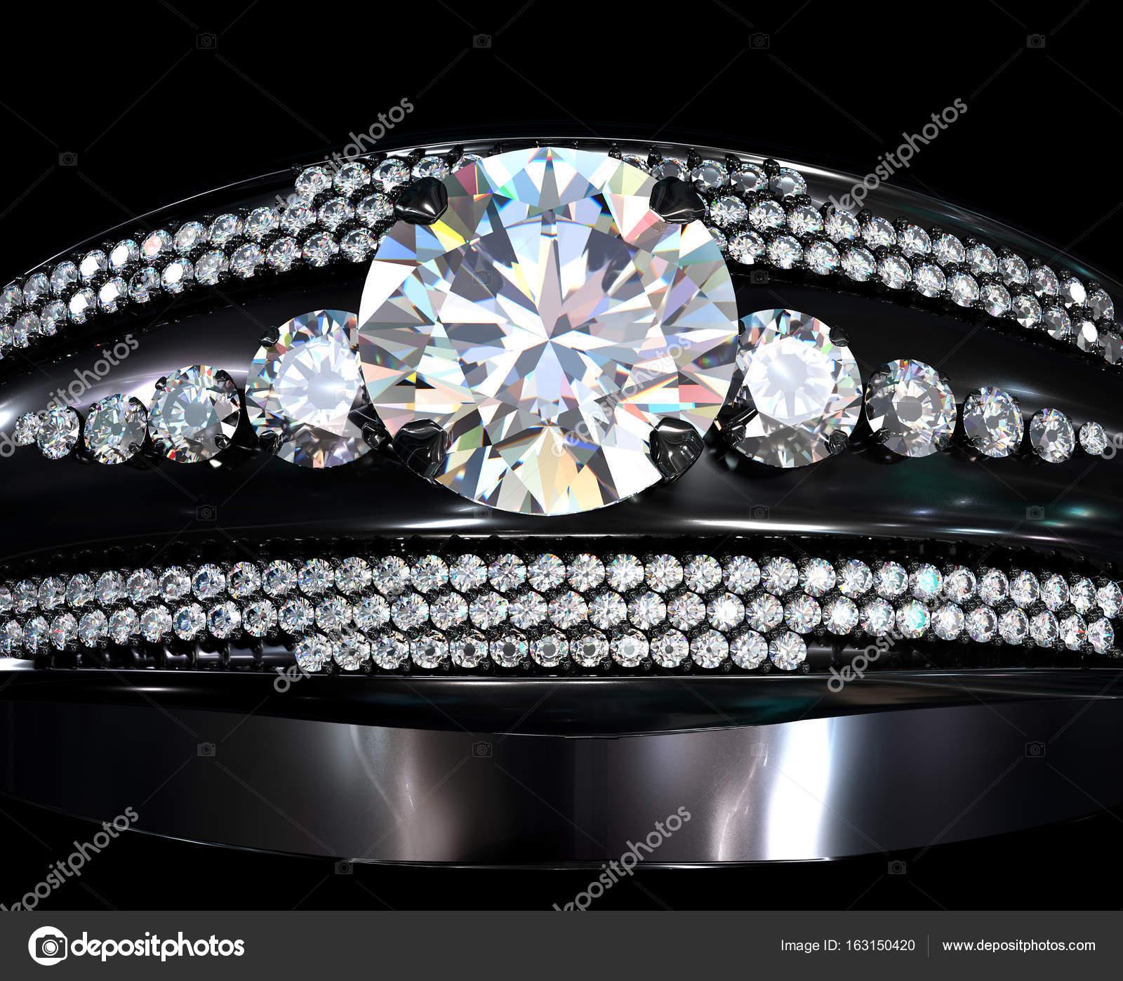 Anillo de compromiso oro negro capa con gema de diamante — Foto de ...