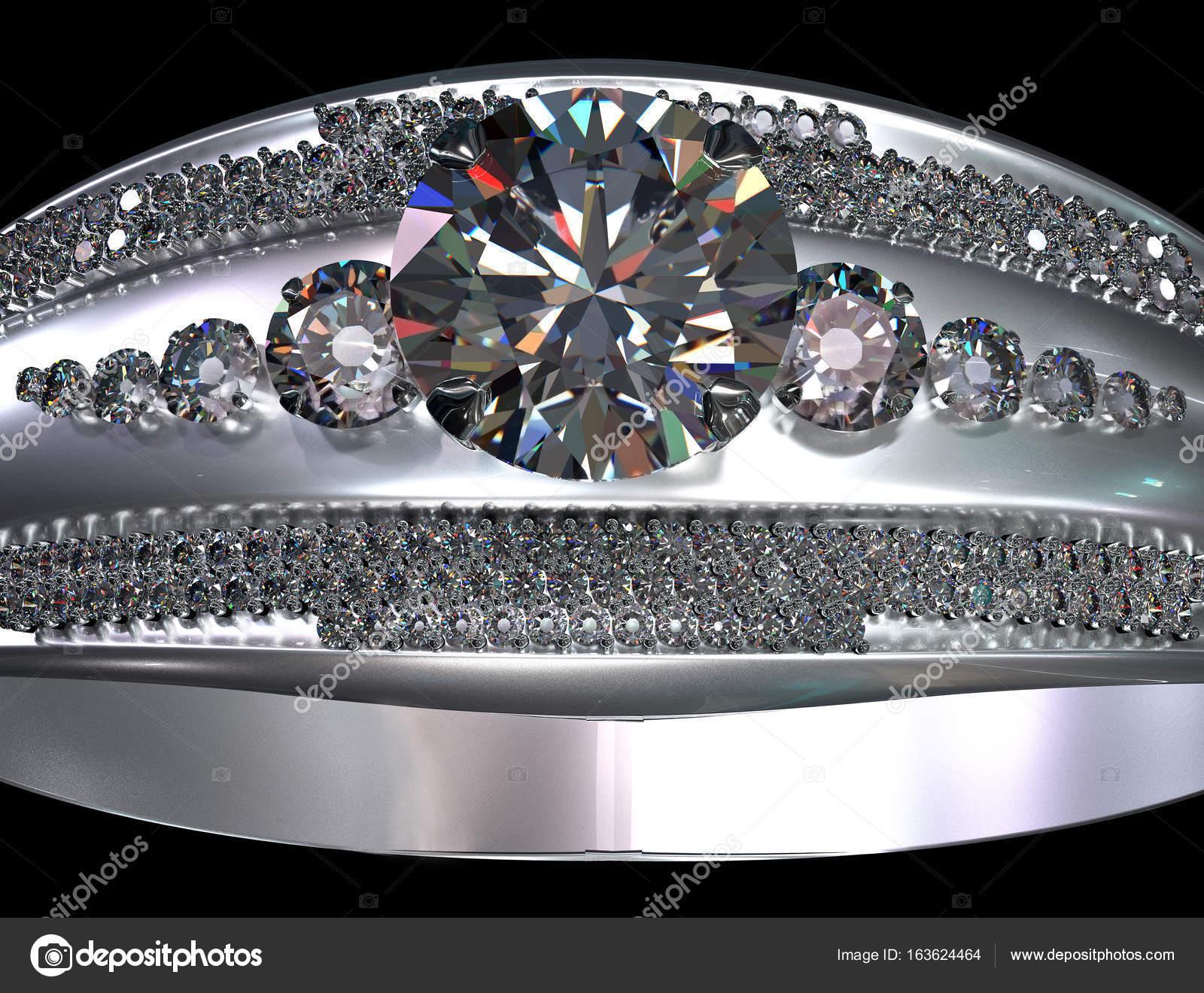Oro blanco o platino anillo de compromiso con la gema de diamante ...
