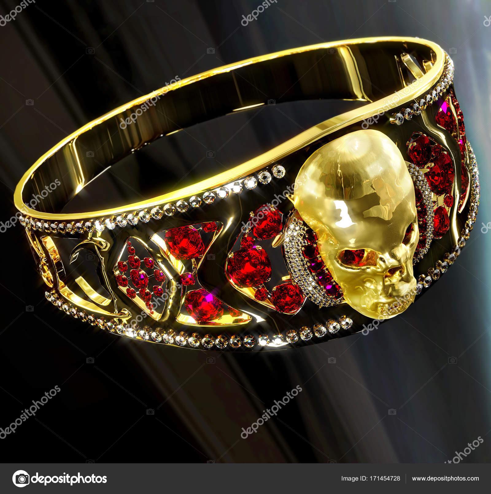 0efd0bc795b40 Anel de caveira de joias de ouro com diamantes e gemas de rubi vermelhas–  imagens de bancos de imagens