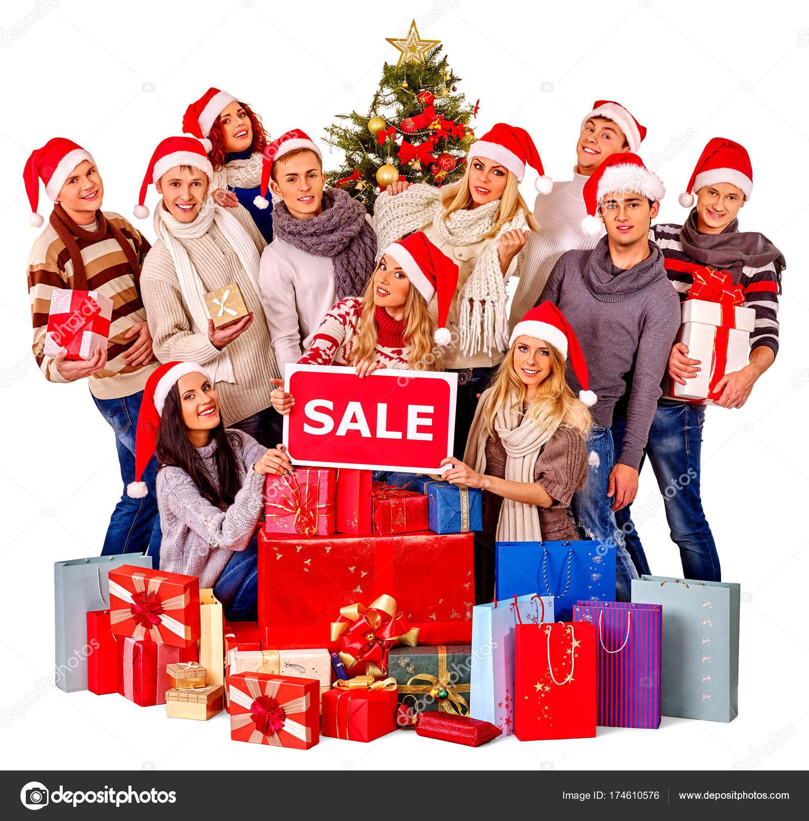 Weihnachten Freunde Frauen, Männer mit Einkaufstasche und Geschenk ...