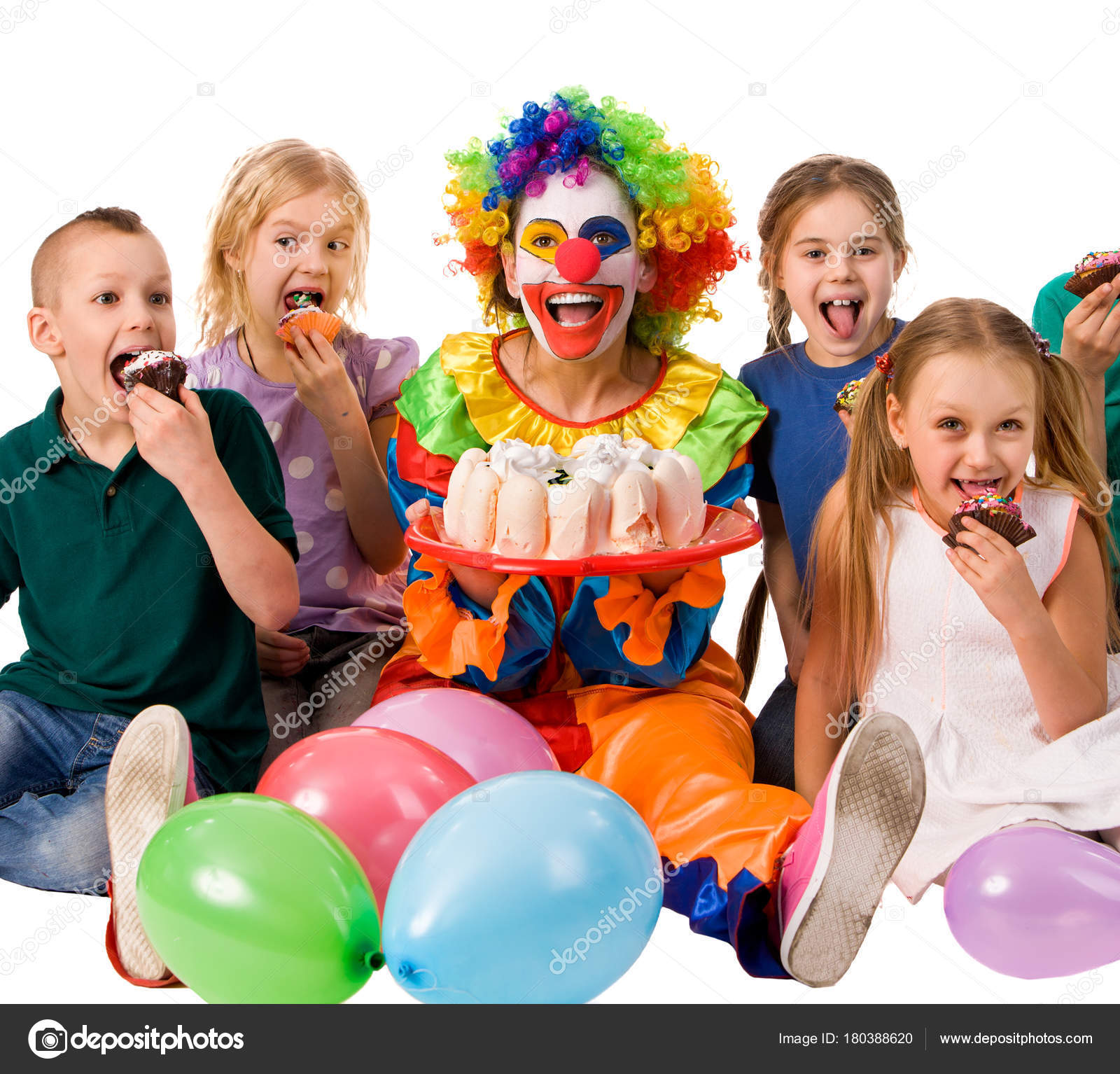 Birthday Child Clown Playing With Children Who Eat Cake Kid Nose Bunny Fingers Prank Fun Of Group People Pose For Camera Sit At Table White