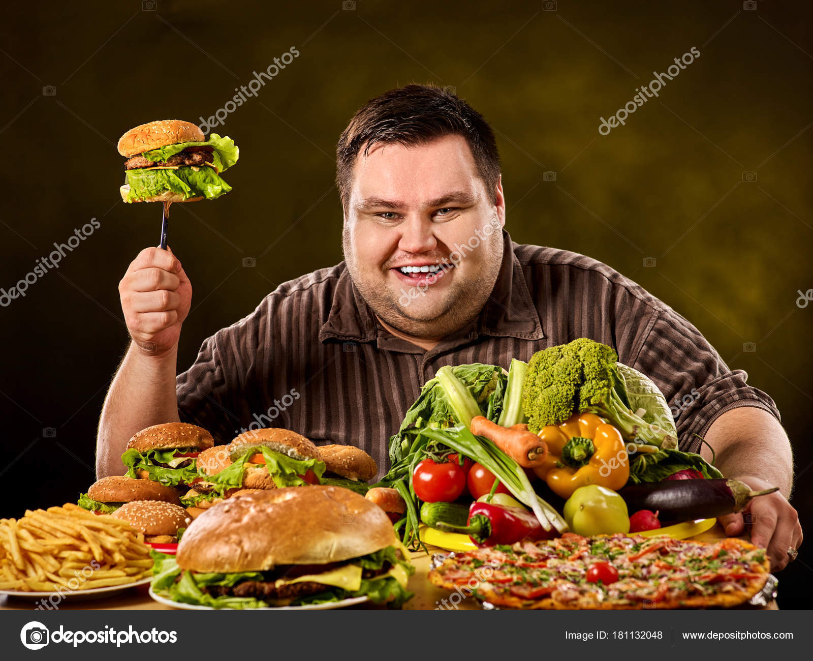diet fat man makes choice between healthy and unhealthy food