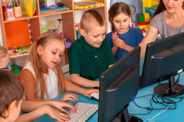 Children computer class us for education and video game.