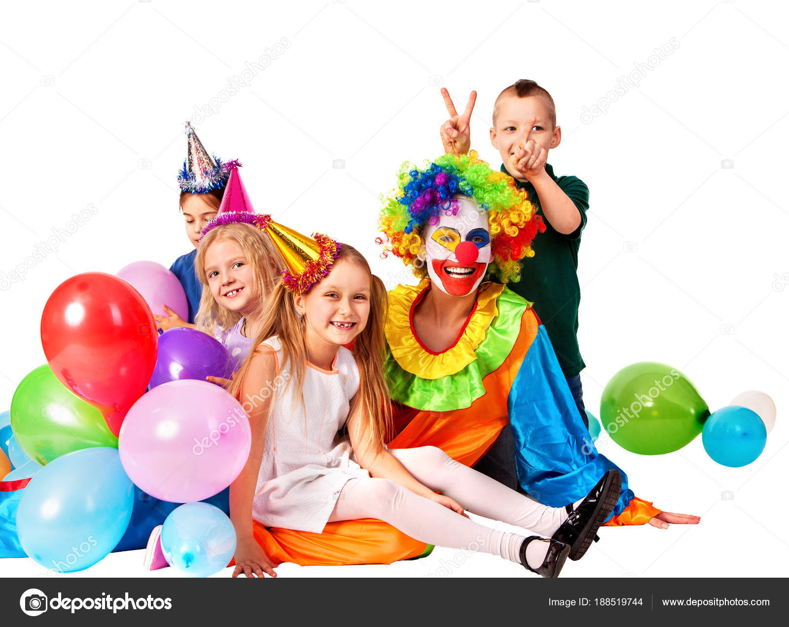 Birthday Child Clown Playing With Children And Bunny Fingers Prank Kid Holiday Cakes Celebratory Balloons The Happiest