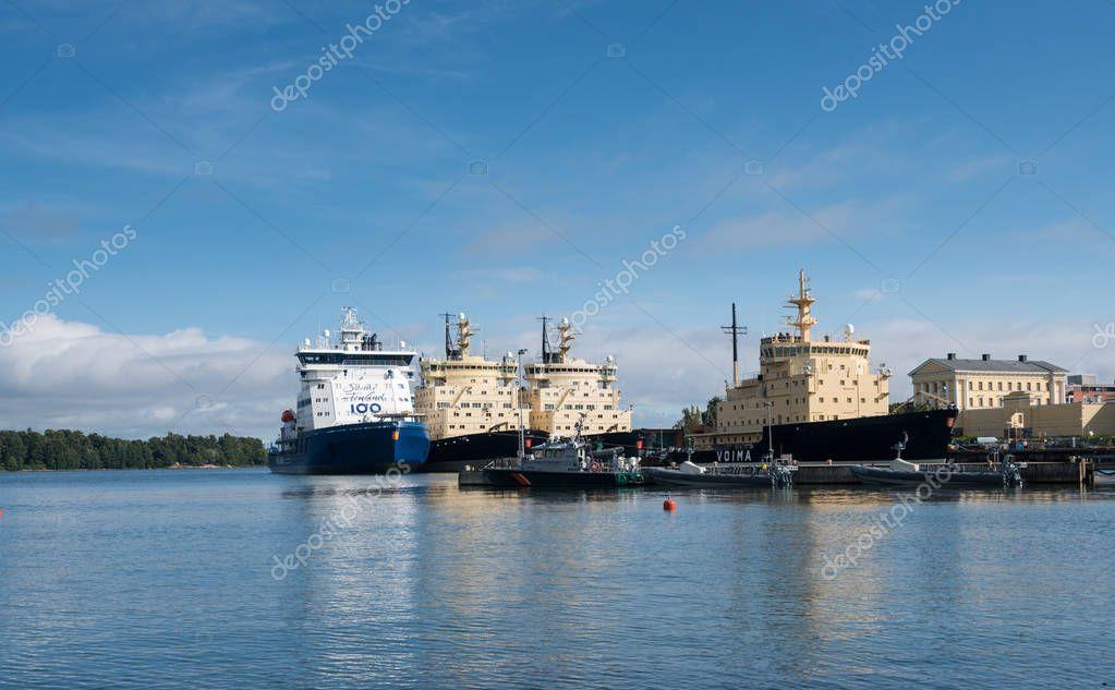 Ice Breaking ships in the harbor in Helsinki