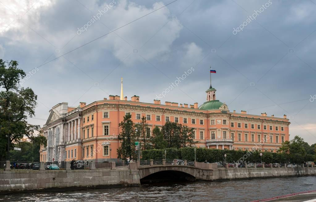 St Michaels castle and canals in St Petersburg, Russia