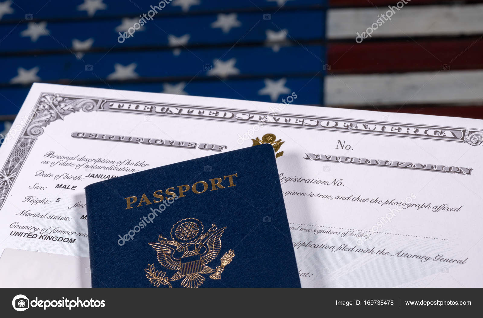Usa Passport And Naturalization Certificate Over Us Flag Stock