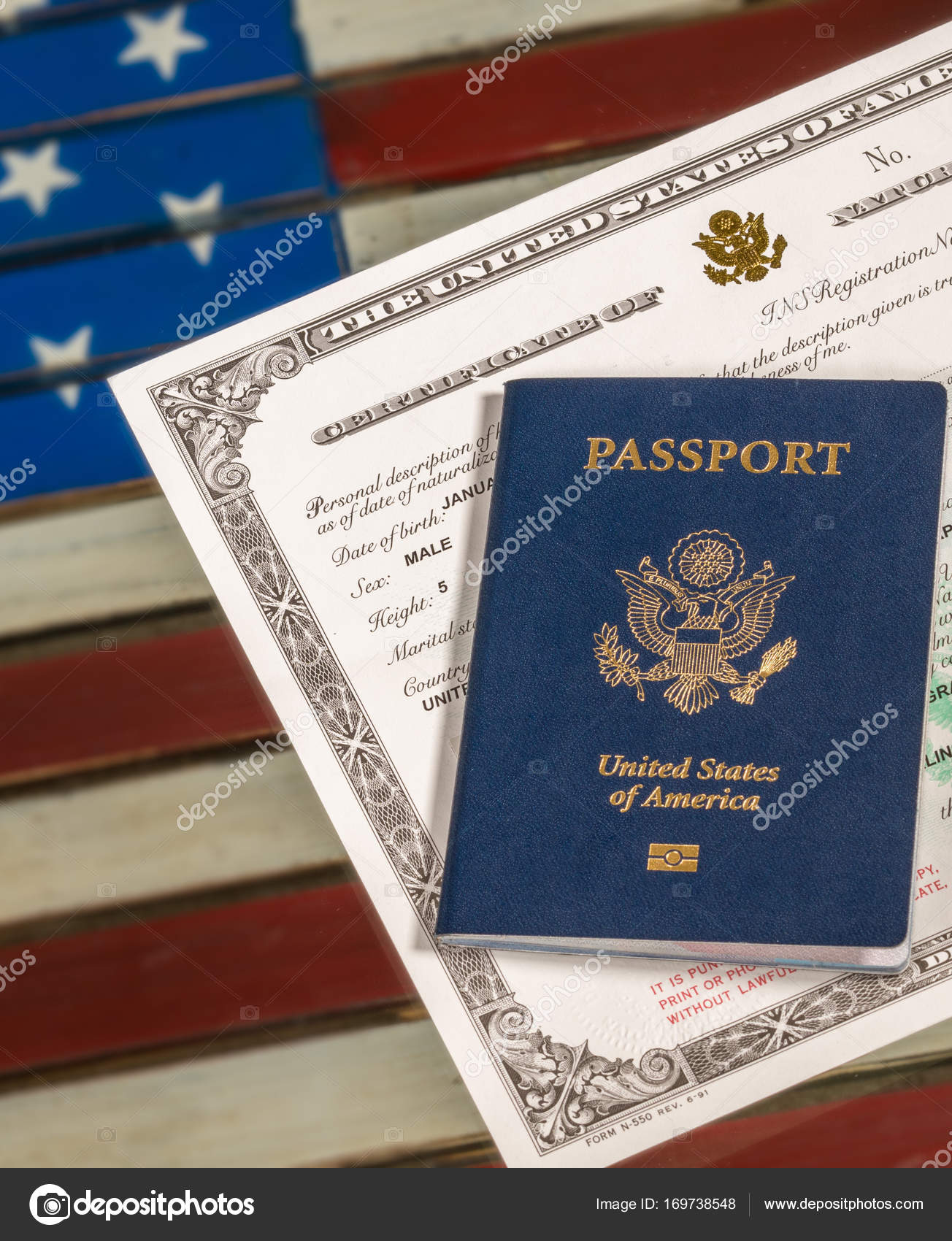 USA passport and naturalization certificate over US Flag — Stock ...