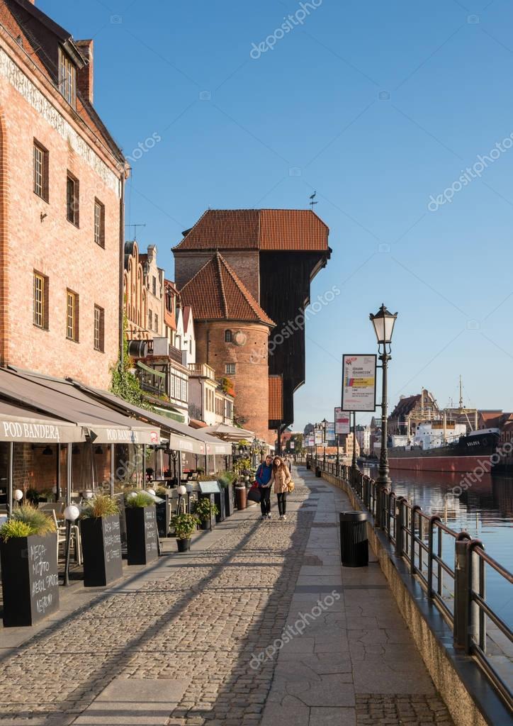 Riverfront bars and restaurants in Gdansk Poland