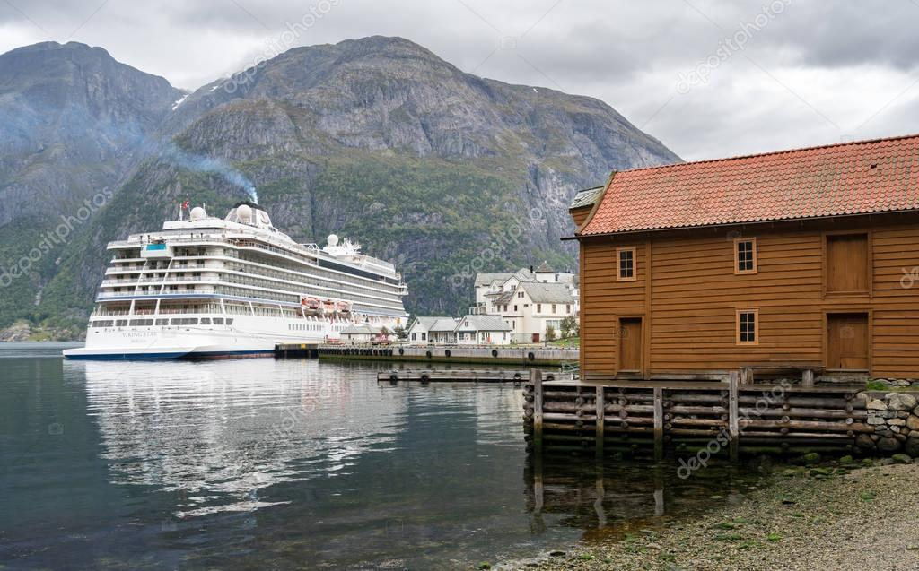 Viking Star cruise ship docked in Eidfjord Norway